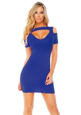 Šaty OPEN SHOULDERS modré L