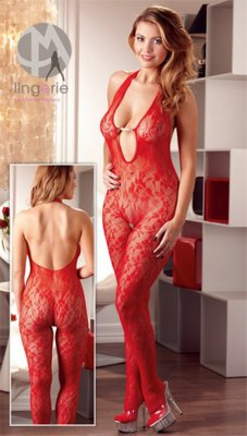 Catsuit PERLE red L/XL