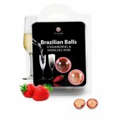 Olej telový BRAZILIAN 2 BALLS SET strawberry and champagne