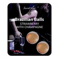 Telový olej BRAZILIAN 2 BALLS SET strawberry and champagne