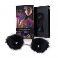 Putá páperové SECRET HANDCUFFS black marabou