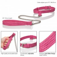 Obojok s vodítkom CalExotics TICKLE ME Collar with Leash pink