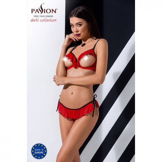 Súprava Passion CHERRY SET WITH OPEN BRA red  L/XL