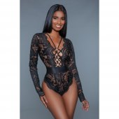 Body BE WICKED Ramona Long Sleeved Lace Bodysuit black